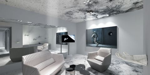 Room, Interior design, Floor, Wall, Ceiling, Living room, Monochrome photography, Style, Interior design, Black-and-white,