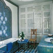 Blue, Interior design, Room, Wall, Tile, Floor, Flooring, Turquoise, Interior design, Teal,