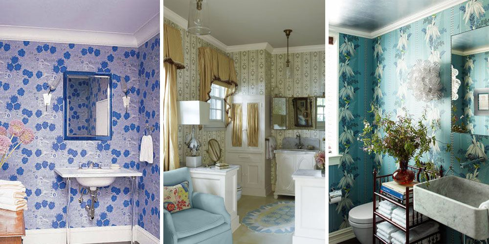 Interior Bathroom Wallpaper Ideas 15 bathroom wallpaper ideas wall coverings for bathrooms elle decor