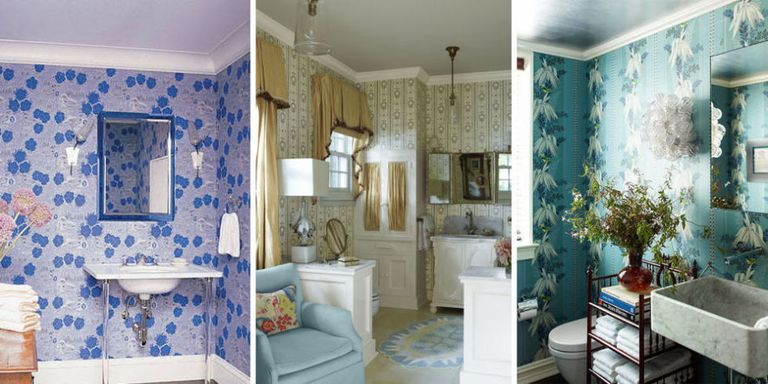 Wallpapered Bathrooms Ideas | 15 Bathroom Wallpaper Ideas Wall Coverings For Bathrooms Elle