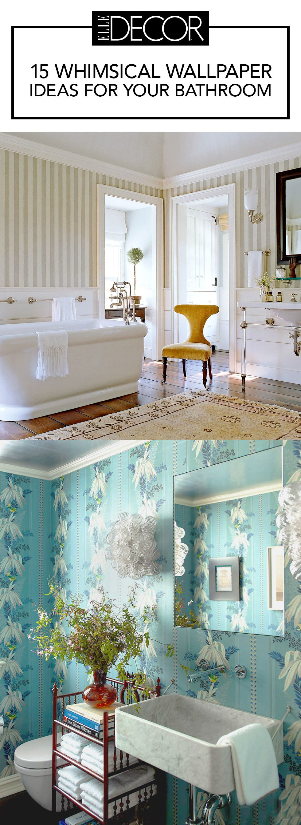 15 Bathroom Wallpaper Ideas - Wall Coverings for Bathrooms - Elle Decor
