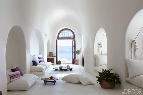 "<p>After renewing his love of the sea while living on the Greek island of Santorini, a hotelier found an even more secluded spot home on the Therassia islet and created his ultimate water world. <a href=""http://www.elledecor.com/design-decorate/house-interiors/g395/sailors-delight-a-dream-home-of-the-coast-of-santorini/?"" target=""_blank"">Get the house tour here.</a></p>"