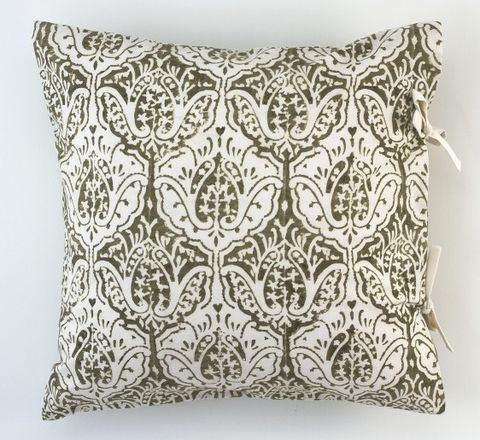 The Smudges Imperfections And Side Ties Give A Handcrafted Touch To This Block Printed Cushion