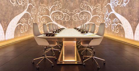 Room, Interior design, Design, Wallpaper, Symmetry, Hall, Armrest,