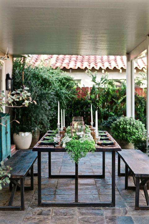 Plant, Table, Flowerpot, Shade, Outdoor table, Garden, Houseplant, Herb, Outdoor structure, Backyard,