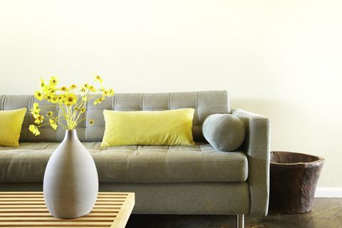 Room, Brown, Yellow, Living room, Interior design, Furniture, Wall, Couch, Pillow, Home,