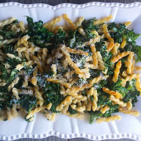 Recipe for Crispy Brown Butter Gemelli with Shredded Kale.