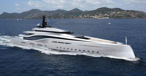 Watercraft, Water, Mountainous landforms, Liquid, Boat, Horizon, Mountain range, Waterway, Naval architecture, Luxury yacht,