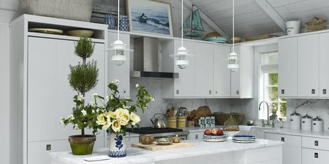 Countertop, White, Kitchen, Room, Furniture, Interior design, Cabinetry, Property, Building, Ceiling,