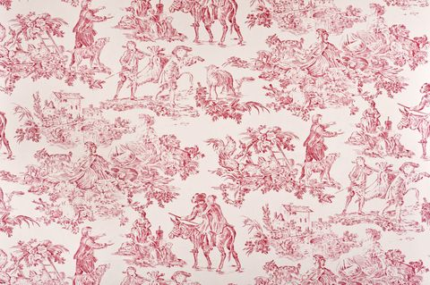 Red French Toile Fabric