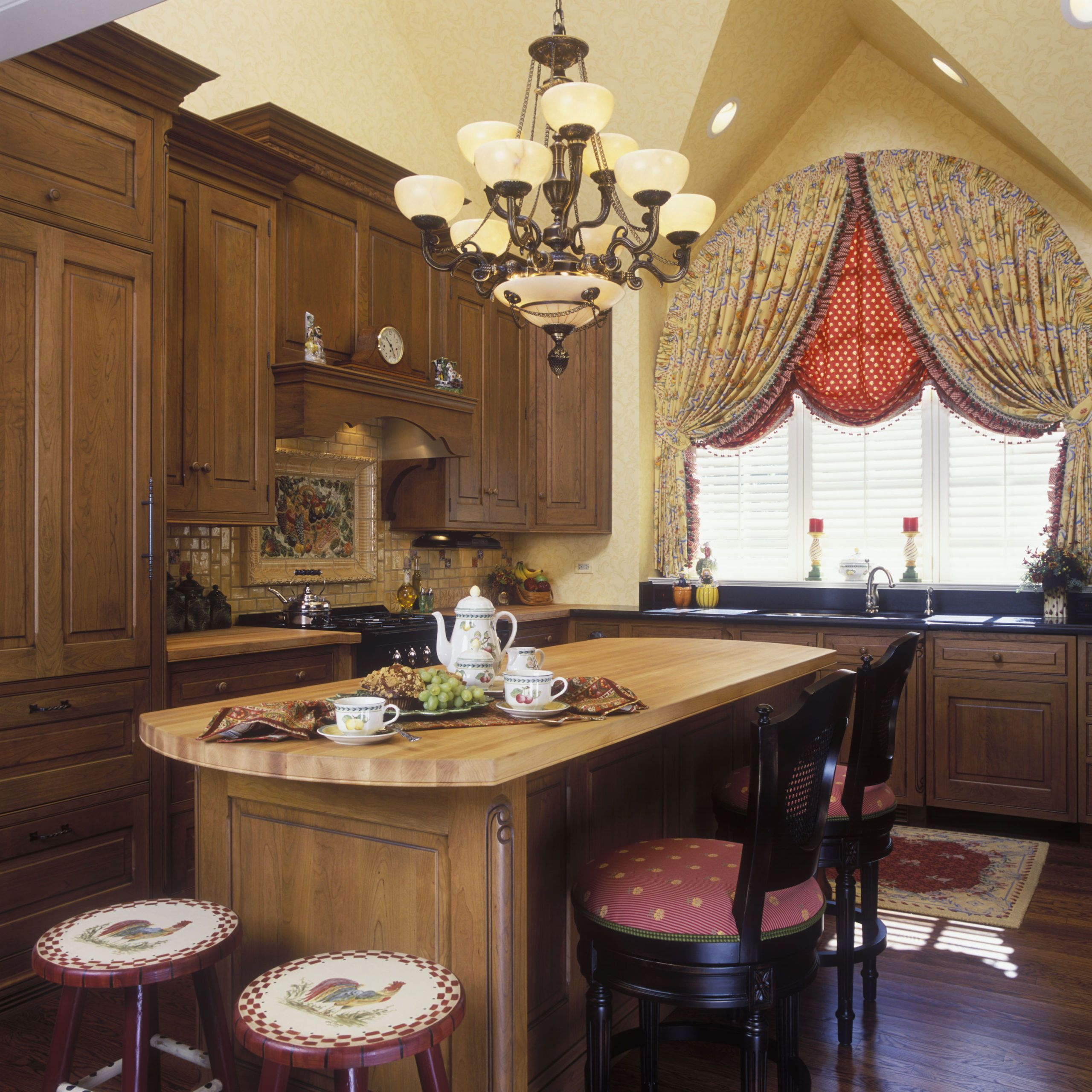Red And Yellow French Country Kitchen