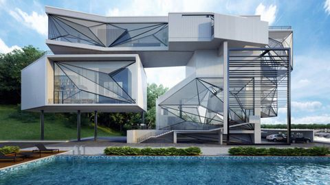 Architecture, Property, Real estate, Facade, Urban design, Composite material, Design, Shade, Stairs, Swimming pool,