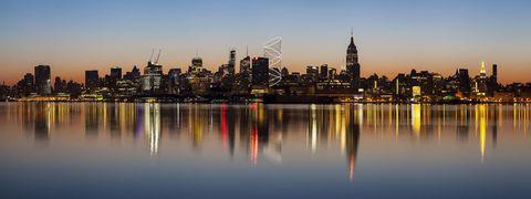 Reflection, Metropolitan area, City, Tower block, Urban area, Water resources, Cityscape, Metropolis, Tower, Building,