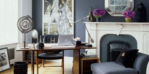 Room, Interior design, Table, Display device, Furniture, Wall, Computer desk, Lamp, Desk, Flat panel display,