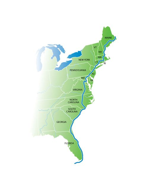 Map Of The East Coast Of Florida.Bike Trail To Stretch From Maine To Florida East Coast Greenway