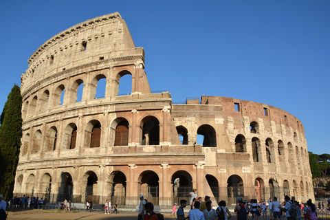 Daytime, People, Architecture, Tourism, Ancient rome, Amphitheatre, Arch, Wonders of the world, Landmark, Ancient history,