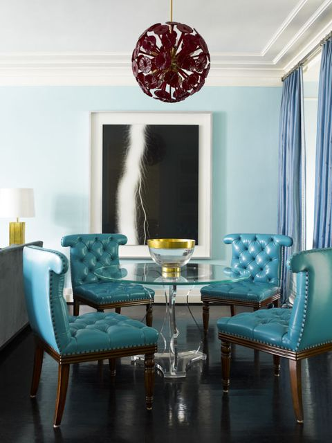 Blue, Room, Green, Interior design, Floor, Furniture, Teal, Turquoise, Table, Aqua,