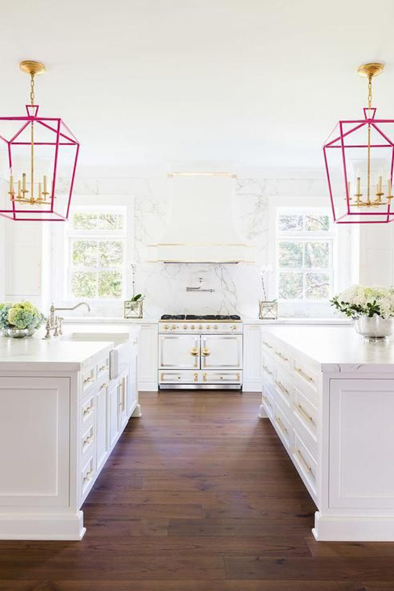"""<p>A pop of color via hanging lanterns is a simple way to brighten up your kitchen. </p><p><a href=""""https://www.decorpad.com/""""></a><em><a href=""""https://www.decorpad.com/"""" target=""""_blank"""">Via Decor Pad</a></em></p>"""