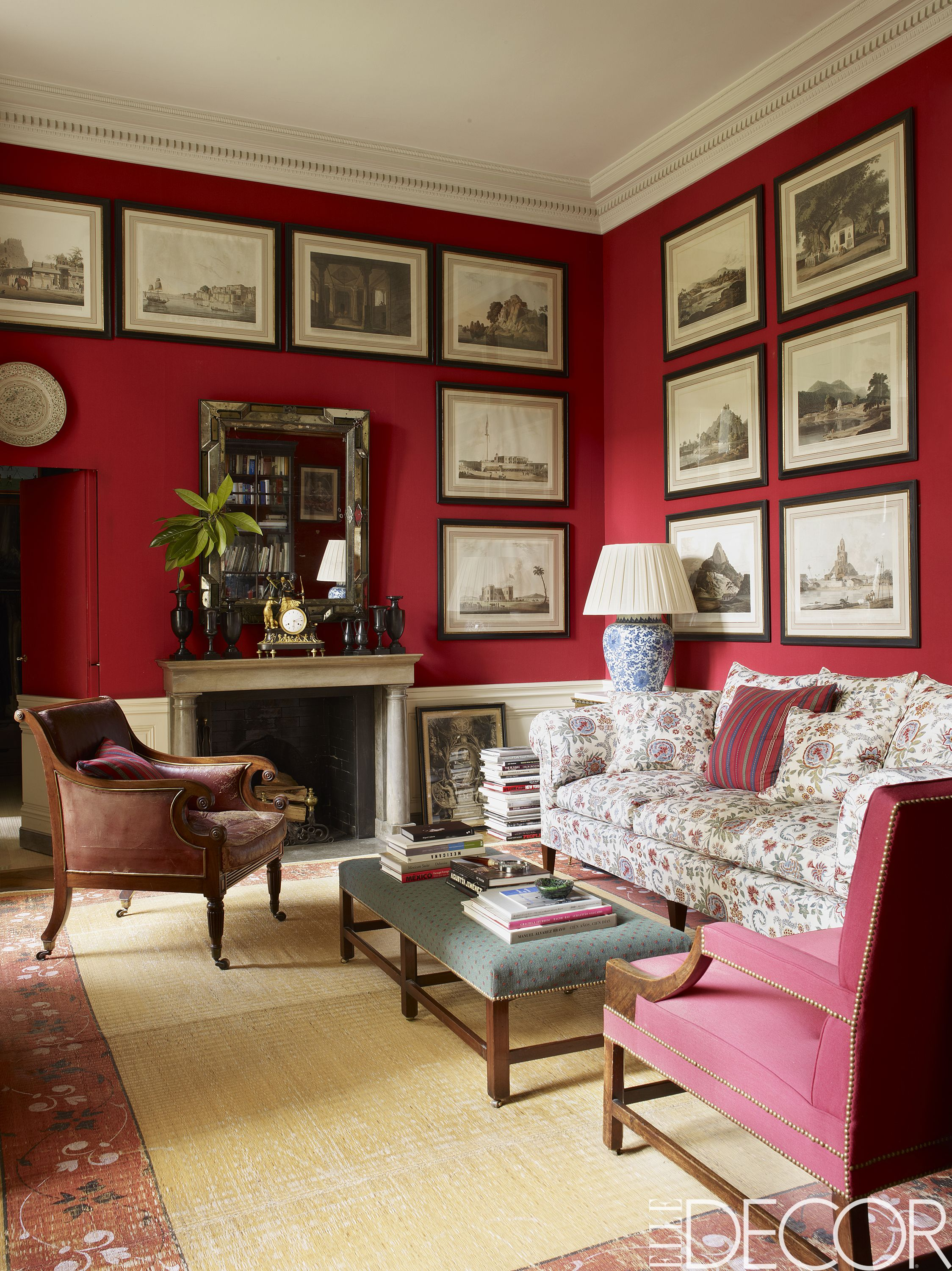 rooms with red walls red bedroom and living room ideas rh elledecor com red brick wall living room red accent wall living room