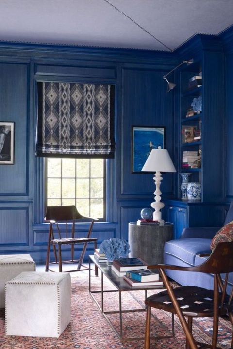 Room, Blue, Furniture, Interior design, Living room, Property, Building, Table, Wall, House,