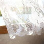 Textile, Lace, Embellishment, Interior design, Linens, Transparent material, Wood stain, Window treatment, Day dress, Pattern,