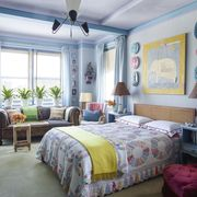 Room, Lighting, Interior design, Green, Bed, Floor, Property, Textile, Bedding, Furniture,