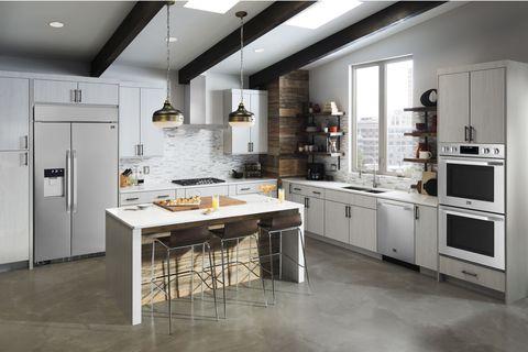 Floor, Room, Property, Major appliance, Kitchen appliance, White, Interior design, Flooring, Kitchen, Home appliance,