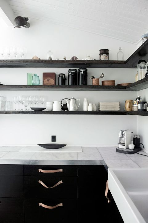 Room, White, Wall, Interior design, Plumbing fixture, Kitchen, Cabinetry, Countertop, Kitchen appliance, Grey,