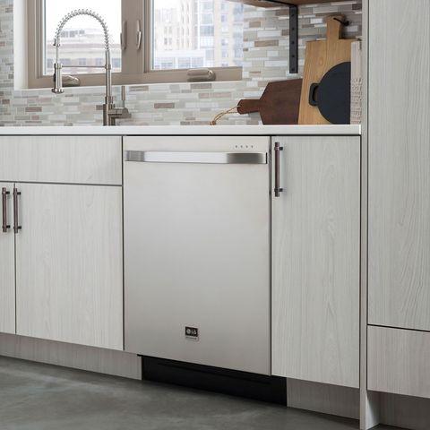 Property, Room, Floor, Interior design, Flooring, Fixture, Major appliance, Plumbing fixture, Cabinetry, Grey,