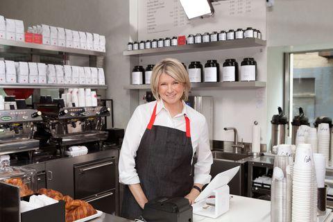 Cook, Kitchen, Shelf, Countertop, Cooking, Home appliance, Kitchen appliance, Shelving, Job, Employment,
