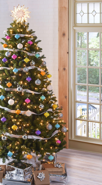 Images Christmas Trees Decorated Ribbon  Christmas Tree Ideas Mod Podge Rocks