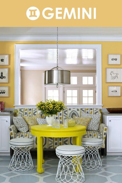 Room, Interior design, Yellow, Floor, Table, Furniture, Wall, Home, Flooring, Interior design,