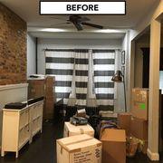 Interior design, Room, Flowerpot, Shipping box, Ceiling, Floor, Carton, Box, Light fixture, Interior design,