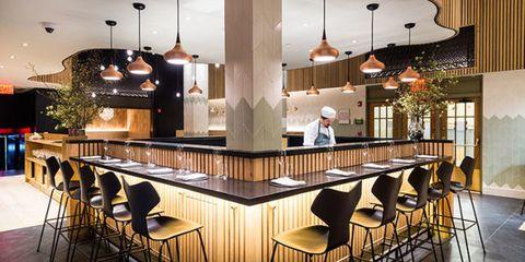 Lighting, Interior design, Ceiling, Furniture, Interior design, Restaurant, Light fixture, Ceiling fixture, Lobby, Cafeteria,