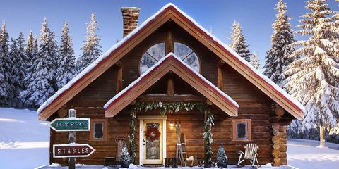 Winter, Property, Snow, House, Freezing, Home, Real estate, Roof, Woody plant, Log cabin,