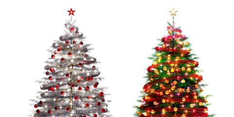 Colorful Christmas Tree Images.White Christmas Lights Or Colored Christmas Lights