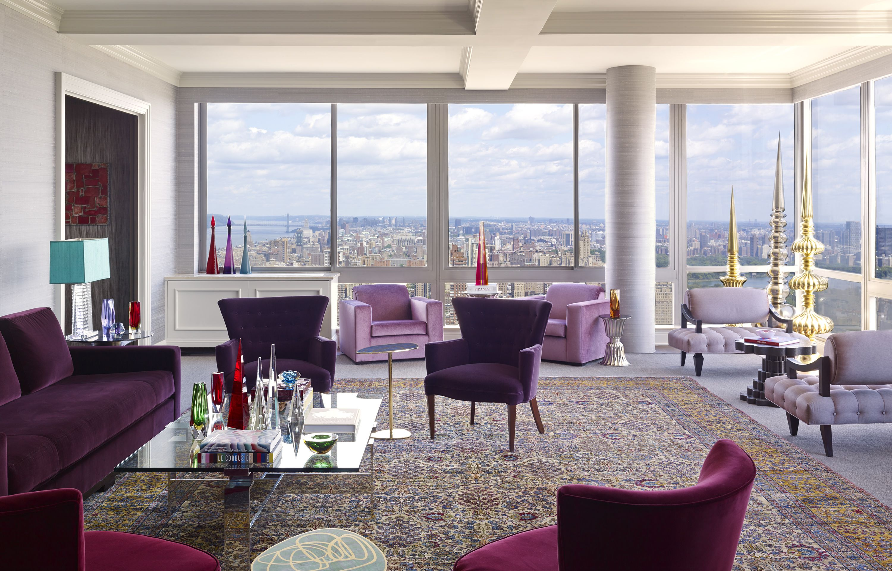 Purple Living Room Furniture Tour A Manhattan Penthouse Filled With Purple Decor Purple Rooms