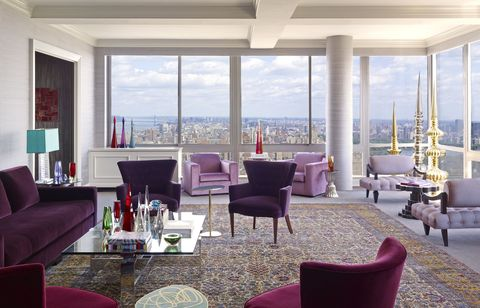 Tour A Manhattan Penthouse Filled With Purple Decor Purple Rooms Mesmerizing Designer Decor