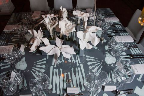 Petal, Tablecloth, Linens, Home accessories, Party supply, Centrepiece, Interior design, Design, Cut flowers, Silver,