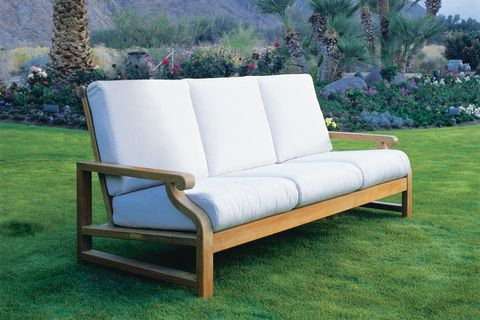 Outdoor furniture, Couch, Furniture, Shrub, Outdoor sofa, Garden, Rectangle, Groundcover, studio couch, Landscaping,