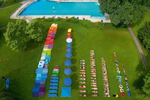 Biome, Swimming pool, Majorelle blue, Games, Bird's-eye view, Video game software, Pc game, Screenshot,