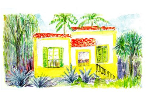 Green, House, Woody plant, Paint, Art, Arecales, Artwork, Majorelle blue, Painting, Flowering plant,
