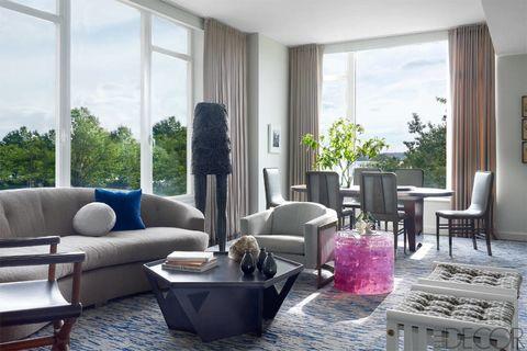 Blue, Interior design, Room, Floor, Living room, Flooring, Furniture, Table, Wall, Home,
