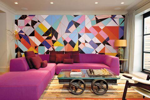 Interior design, Room, Wall, Furniture, Couch, Ceiling, Purple, Living room, Interior design, Floor,