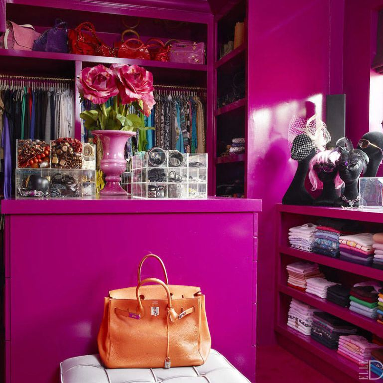 """In her family's <a target=""""_blank"""" href=""""http://www.elledecor.com/design-decorate/house-interiors/g1052/rena-abboud-london-townhouse-tour/"""">London townhouse</a> designed by Philip Vergeylen, Rena Abboud's dressing room features walls and custom-made cabinetry painted in Dulux's Russian Velvet 3."""
