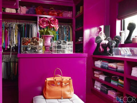 "In her family's <a target=""_blank"" href=""http://www.elledecor.com/design-decorate/house-interiors/g1052/rena-abboud-london-townhouse-tour/"">London townhouse</a> designed by Philip Vergeylen, Rena Abboud's dressing room features walls and custom-made cabinetry painted in Dulux's Russian Velvet 3."