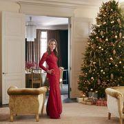 Interior design, Room, Lighting, Event, Property, Christmas decoration, Red, Furniture, Interior design, Home,