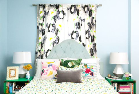 Green, Room, Interior design, Bed, Yellow, Lamp, Wall, Textile, Bedding, Bedroom,