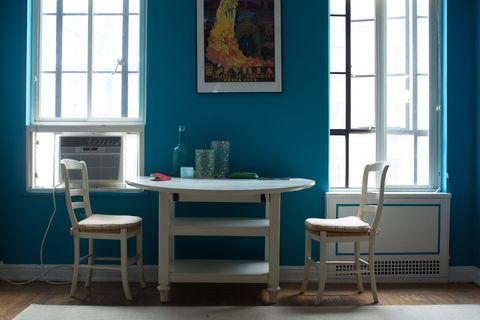 Room, Green, Floor, Window, Interior design, Flooring, Furniture, Table, Teal, Wall,