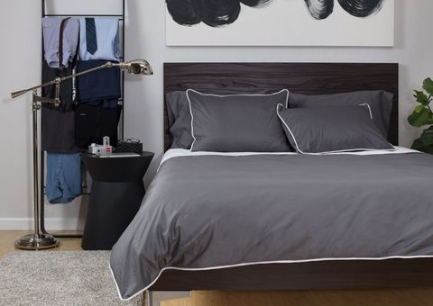 Room, Bed, Interior design, Property, Textile, Bedding, Bedroom, Floor, Linens, Bed sheet,